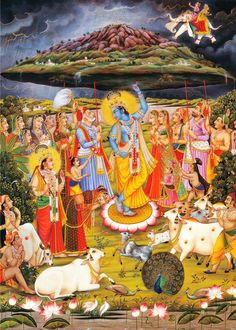 """theencyclopediaofhinduism: """"Krishna's feat of lifting the Govardhan mountain to provide shelter to the people and animals from the wrath of Indra deva, who unleashed ferocious rain and thunder Traditional artwork found in The Encyclopedia of. Bal Krishna, Lord Krishna Images, Radha Krishna Pictures, Radha Krishna Photo, Krishna Art, Radhe Krishna, Krishna Lila, Lord Buddha Wallpapers, Lord Krishna Wallpapers"""