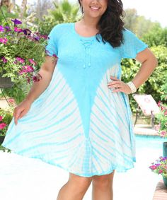 Another great find on #zulily! Blue Tie-Dye Shift Dress - Plus by Ananda's Collection #zulilyfinds