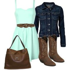 A fashion look from October 2013 featuring Ally Fashion dresses, ONLY jackets and Laredo boots. Browse and shop related looks. Country Girl Dresses, Country Style Outfits, Country Wear, Country Fashion, Country Dates, Cowgirl Dresses, Cowboy Outfits, Fashion Night, Love Fashion