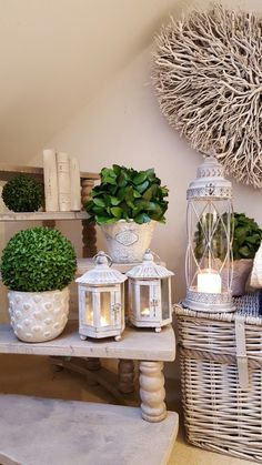 Lantern love....grey wash metal lanterns...don't forget the topiary....