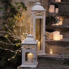 Porch stairs and lanterns