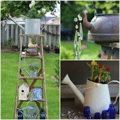 Creative garden art with watering cans