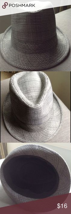 Houndstooth-check Fedora Grey Blue Fedora. Houndstooth plaid fabric. Cotton  blend. Versatile. Goes with just about anything. Pristine. Accessories Hats 5746135f29e0