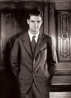 Billionaire movie producer (and jack of all trades) Howard Hughes, age 19, about the time he became an emancipated minor and obtained his trust fund. His love life included a laundry list of Hollywood beauties, most notably, Katharine Hepburn.