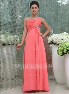 Prom Dresses - $126.99 - Empire One-Shoulder Floor-Length Chiffon Prom Dress With Ruffle Beading (018043977) http://jjshouse.com/Empire-One-Shoulder-Floor-Length-Chiffon-Prom-Dress-With-Ruffle-Beading-018043977-g43977