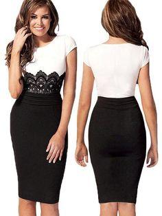 Vestido de moda bodycon con encaje blanco y negro | eBay