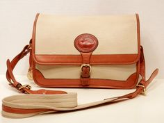 6cc156474a33 Dooney and Bourke Cross Body Bag    Large Surrey Bone White and British Tan  AWL. Vintage Coach ...