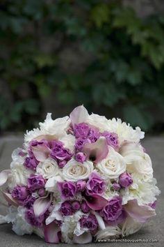 purple spray roses, callas, peonies