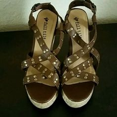 New Studded wedges Comfortable Camel color studded cork wedges, new, do not have box,Never worn. Full Tilt Shoes