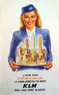 A KLM stewardess serving up New York City on a silver platter
