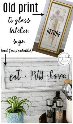 Make this EAT PRAY LOVE sign, simply! A cute addition to any kitchen! Perfect for gift giving or fun for your own kitchen decor. kitchen decor Eat Pray Love Sign (and FREE printable! Diy Home Decor Rustic, Diy Kitchen Decor, Kitchen Signs, Home Crafts Diy Decoration, Kitchen Sign Ideas, Coffee Kitchen Decor, Home Craft Ideas, Diy Crafts, Kitchen Words