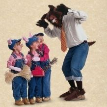 love the costumes and props for 3 pigs - I like the other picture's ears rather than the hats