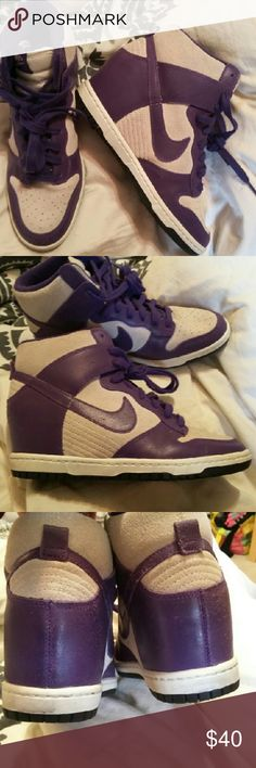 Nike Sky High sneakers sz 8.5/9 Nike Sky High sneakers sz 8.5 EUR 40...run more lk.sz.9 Leather upper Purple and lt gray... built in heel  In very good used condition...show some wear but still in supernice shape Nike Shoes Athletic Shoes