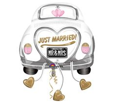 "#burtonandburton 31"" Just Married Car shape foil balloon. #balloons #wedding"