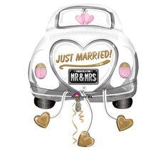 "#burtonandburton 31"" Just Married Car shape foil balloon. #balloons #wedding"