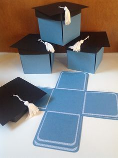 This set of 10 pop-up graduation cap invitation boxes is designed with black cap and white tassel on top and comes in customers choice of color(s). When the tasseled cap is removed, 8 interior panels fold down to display your own images. A matching paper is selected for the interior panels' borders as shown in the sample photos. Photos show some of the colors that are available (Black, Red, Blue & Yellow) but the final color(s) of the invitations will be selected by the buyer through a…