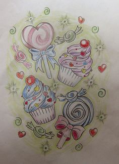"candy themed tattoo...I always wanted something like this on my hip. My mom always said ""once on the lips, forever on the hips"" :)"