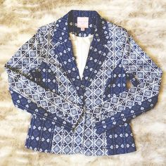 Blue & White Moroccan Statement Print Blazer Brand new blazer with tags. In perfect condition! Please ask if you have any questions. Romeo & Juliet Couture Jackets & Coats Blazers
