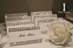 50 ELEGANT WEDDING BLING rhinestone tent cards place cards name cards