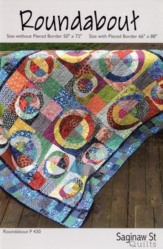Quilting Roundabout quilt sewing pattern from Saginaw St Quilts Circle Quilt Patterns, Circle Quilts, Quilt Blocks, Drunkards Path Quilt, Textiles, Scrappy Quilts, Baby Quilts, Sampler Quilts, Free Sewing