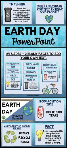 Great PowerPoint to use on Earth Day. 24 PowerPoint slides and 2 blank pages are included (type your own text). Colorful clipart for VISUAL LEARNERS.