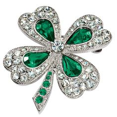 Shamrock Pin by Miles Kimball - wear a four leaved clover for luck on St Patrick's Day Irish Greetings, Jewelry Box, Jewelery, Diamond Brooch, Gemstone Brooch, Titanic Jewelry, Irish Jewelry, Irish Eyes, Four Leaf Clover