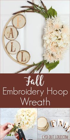 DIY Beautiful Fall Wood Slice Embroidery Hoop Wreath