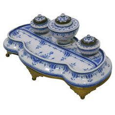 Early 19th Century French Faience Inkwell