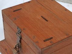 A wonderful old money box that would make an unusual wooden jewellery box with lots of different sized compartments. Repurposed Furniture, Vintage Furniture, Wooden Jewelry Boxes, Money Box, Jewellery Box, Bamboo Cutting Board, Storage Solutions, Antiques, Interior
