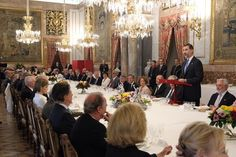 King Felipe and Queen Letizia attends a lunch in ocassion of the 2014 Cervantes Awards