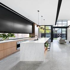 The lines and colours in this kitchen are complemented perfectly by the gorgeous polished concrete floor. Polished Concrete Kitchen, Concrete Kitchen Floor, Polished Concrete Flooring, Industrial Kitchen Design, Modern Kitchen Design, Interior Design Kitchen, Concrete Floors In House, Concrete Interiors, Design Moderne