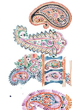 Fashion Illustration Patterns Hand-Painted Sketches from Natalia Gemma Design. Natalia creates and sells original patterns for fashion, home and paper products. Paisley Art, Paisley Design, Paisley Pattern, Pattern Art, Pattern Drawing, Fine Art Textiles, Textile Prints, Textile Design, Lino Prints