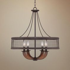 """Frankton Industrial 22"""" Wide Bronze Chandelier - #2R744 