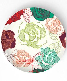 Roses  on 10 inch Melamine Plate by TheMadPlatters on Etsy, $18.00