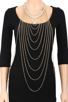 Beautiful Long Gold and Crystal Body Chain