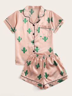 Shop Cactus Print Satin Pajama Set at ROMWE, discover more fashion styles online. Cute Pajama Sets, Cute Pjs, Cute Pajamas, Pajamas Women, Pyjama Sets, Pj Sets, Girls Fashion Clothes, Teen Fashion Outfits, Girl Fashion