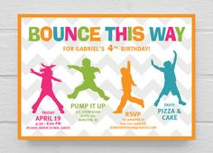Bright Bunting Bounce House Girls Birthday Invitations Pump It Up - Party invitation template: free bounce party invitation template