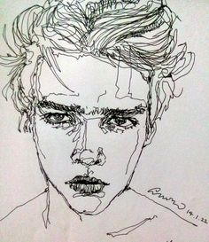 Image result for pen and ink portrait weighted line