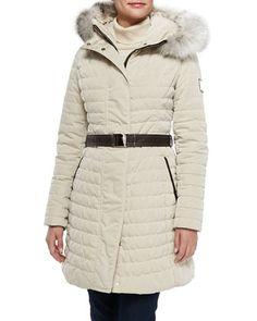 Apres-Ski Puffer Jacket W/ Iceberg Fur-Trim, Crema by Gorski at Neiman Marcus.