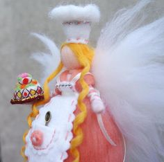 Fairy - perfect gift This handmade doll is made entirely out of wool using the art of needle felting.  Doll is wool , arms wire-based , woolen hair. It is not toy. Is not suitable for children under 5 years, because there are free fibers of wool. Doll is ideal gift for your baby (7years or older ),your friend, for women , for bride, for a person you love. It is perfect for home decorating 100% wool, Dimension - 20 cm (7-8 inches) Fairy is a wonderful decoration of the room and make it…