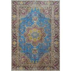 Distressed Overdyed Areeb Blue, Brown Wool Rug (6'1 x 9'3) - Free Shipping Today - Overstock.com - 20659969