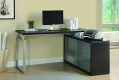 Look at this Cappuccino & Frosted Glass Corner Computer Desk by Monarch Specialties Home Office Desks, Home Office Furniture, Buy Office, Office Depot, Small Office, Modern Furniture, L Shaped Corner Desk, Parks Furniture, Contemporary Desk