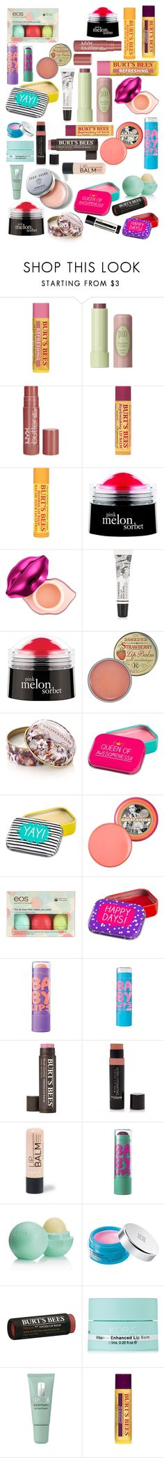 """Lip balm"" by makemepretty-1 ❤ liked on Polyvore featuring beauty, Pixi, NYX, Burt's Bees, philosophy, Tony Moly, M&S, Rosebud Perfume Co., Monsoon and Bobbi Brown Cosmetics"