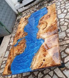 ON SALE Metalic blue resin river table - - Yoga training - Resin Wood Diy Resin Table, Epoxy Table Top, Epoxy Wood Table, Epoxy Resin Table, Wooden Dining Tables, Diy Epoxy, Resin Furniture, Log Furniture, Handmade Furniture