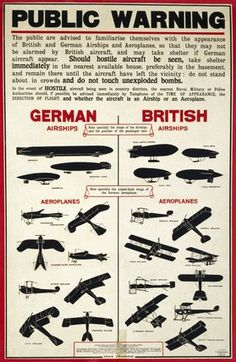 public warning british poster 1917. Persuação gráfica era importante para ganhar a guerra. Posters queriam familiarizar o público com os aviões e armas do inimigo para que pudesse ser identificado.