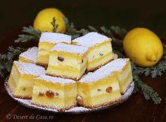 Prajitura cu branza dulce si stafide - Desert De Casa - Mara Popa Apple Pancake Recipe, Romanian Food, No Cook Desserts, Sweet Cakes, Desert Recipes, Cake Cookies, Deserts, Good Food, Food And Drink