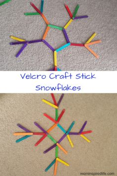 These craft stick snowflakes are an excellent winter activity for young children. This encourages critical thinking, creativity, spatial reasoning and even shape learning. Winter Activities For Kids, Educational Activities For Kids, Infant Activities, Preschool Activities, Preschool Winter, Advent Activities, Preschool Age, Creative Activities, Fun Learning