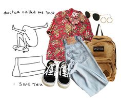 """#103 Doctor called me sick"" by enerig ❤ liked on Polyvore featuring JanSport, Vans, Ray-Ban and Vince Camuto"