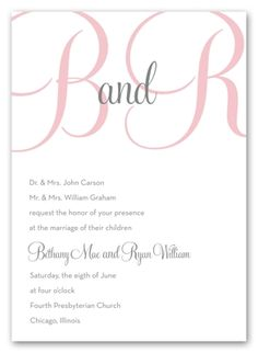 Charcoal & pink wedding invite = <3  Tiffany blue instead of pink