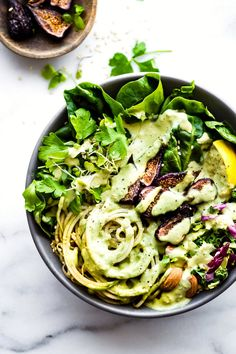 Vegan Green Goddess Fig Nourish Bowls! Nourishing bowls packed with greens, healthy fats, California Figs, green goddess dressing. Paleo & whole 30 recipe.